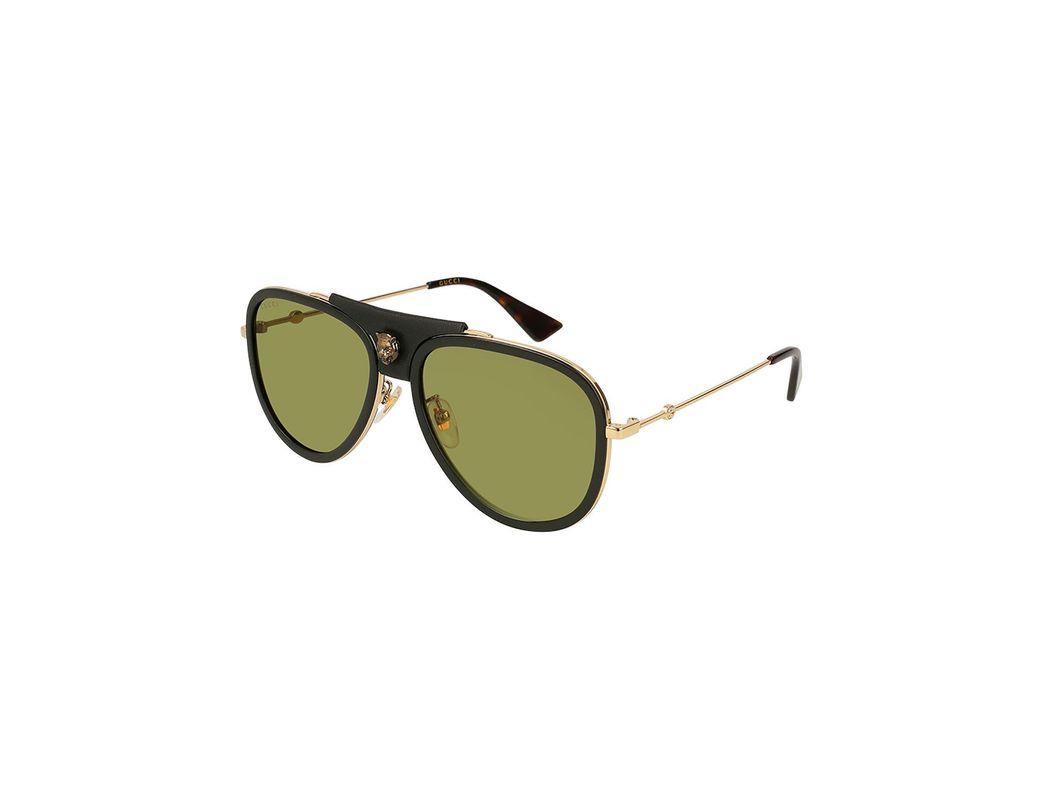 1b73700e070 Lyst - Gucci Enamel Web Metal Aviator Sunglasses in Metallic
