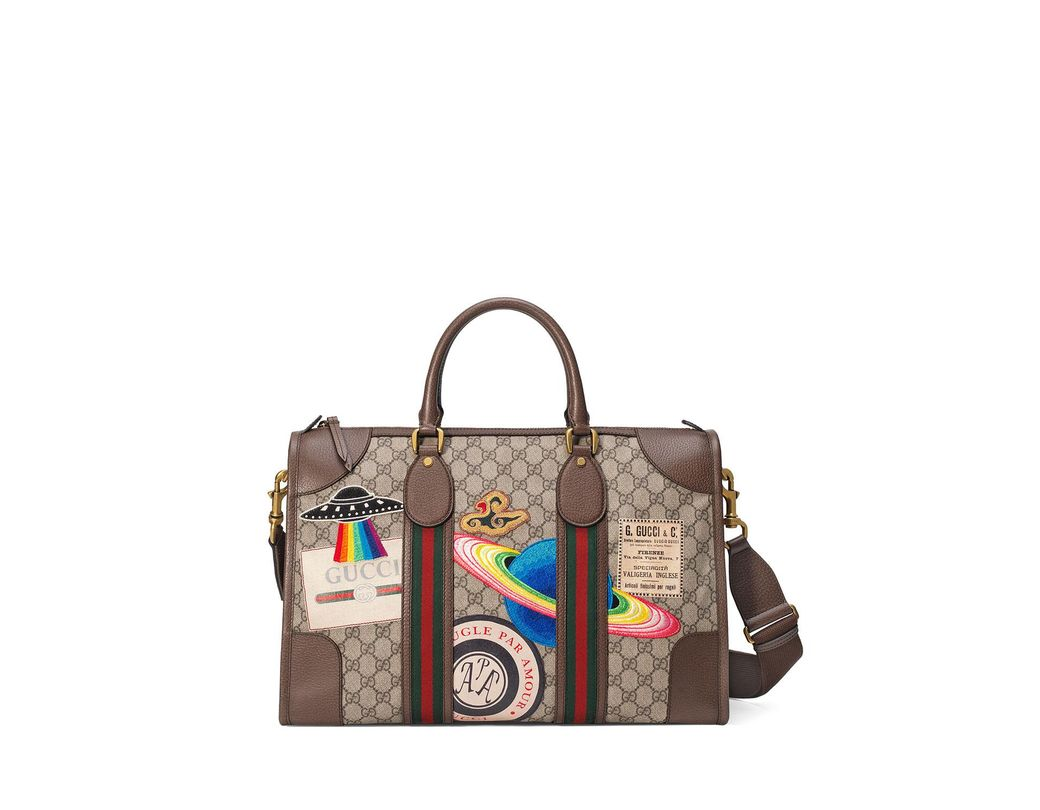 189eeb834ec Lyst - Gucci Courrier Soft GG Supreme Duffle Tote Bag in Natural