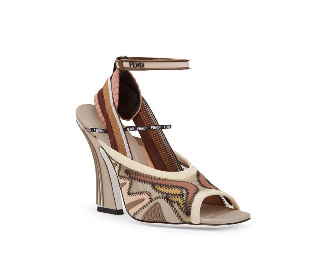93340685068a Lyst - Fendi Freedom Ff Patchwork Sandals in Natural