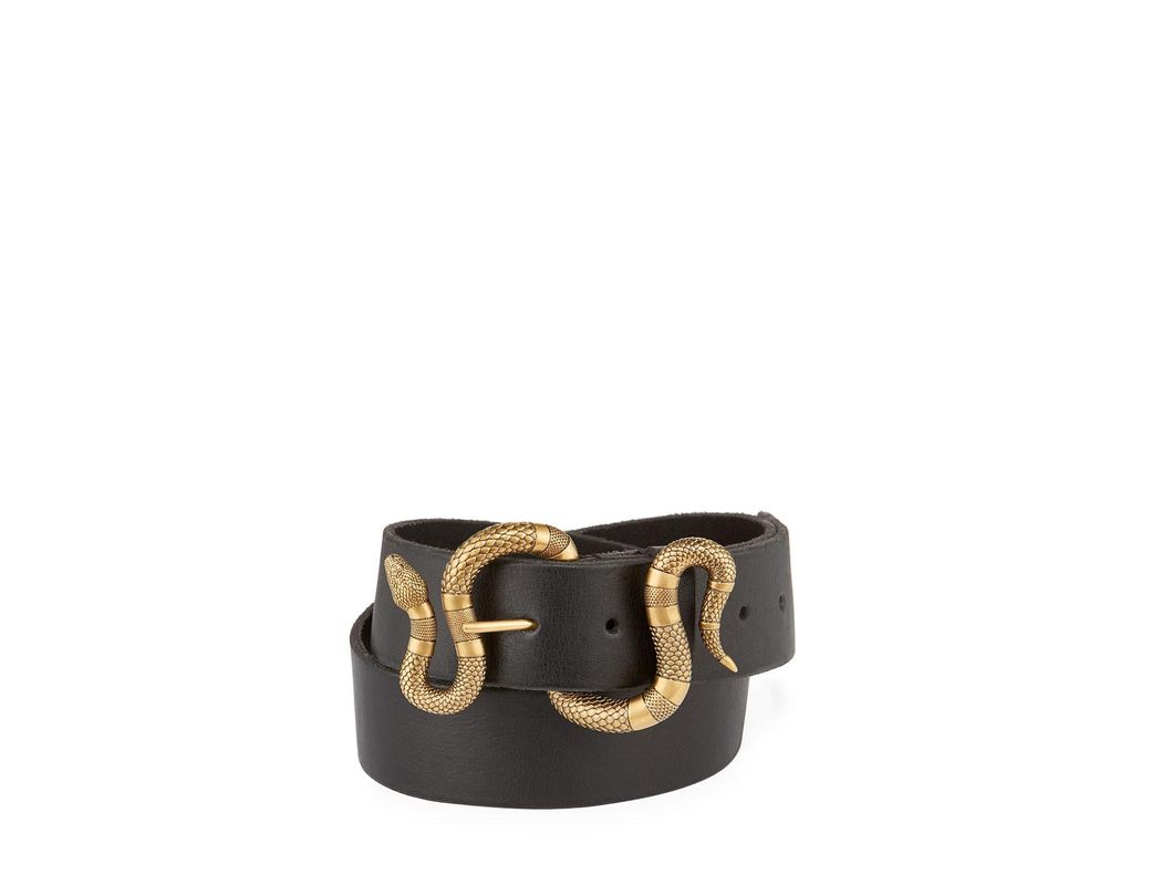 4d08e46cd9d Lyst - Gucci Leather Snake-buckle Belt in Black
