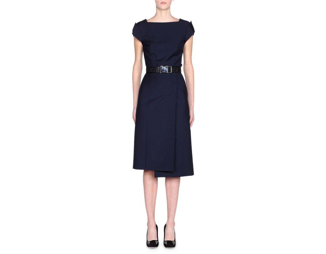 259564b2113 Fendi. Women's Blue Cap-sleeve Belted Foldover Pencil Dress. $2,390 From Bergdorf  Goodman