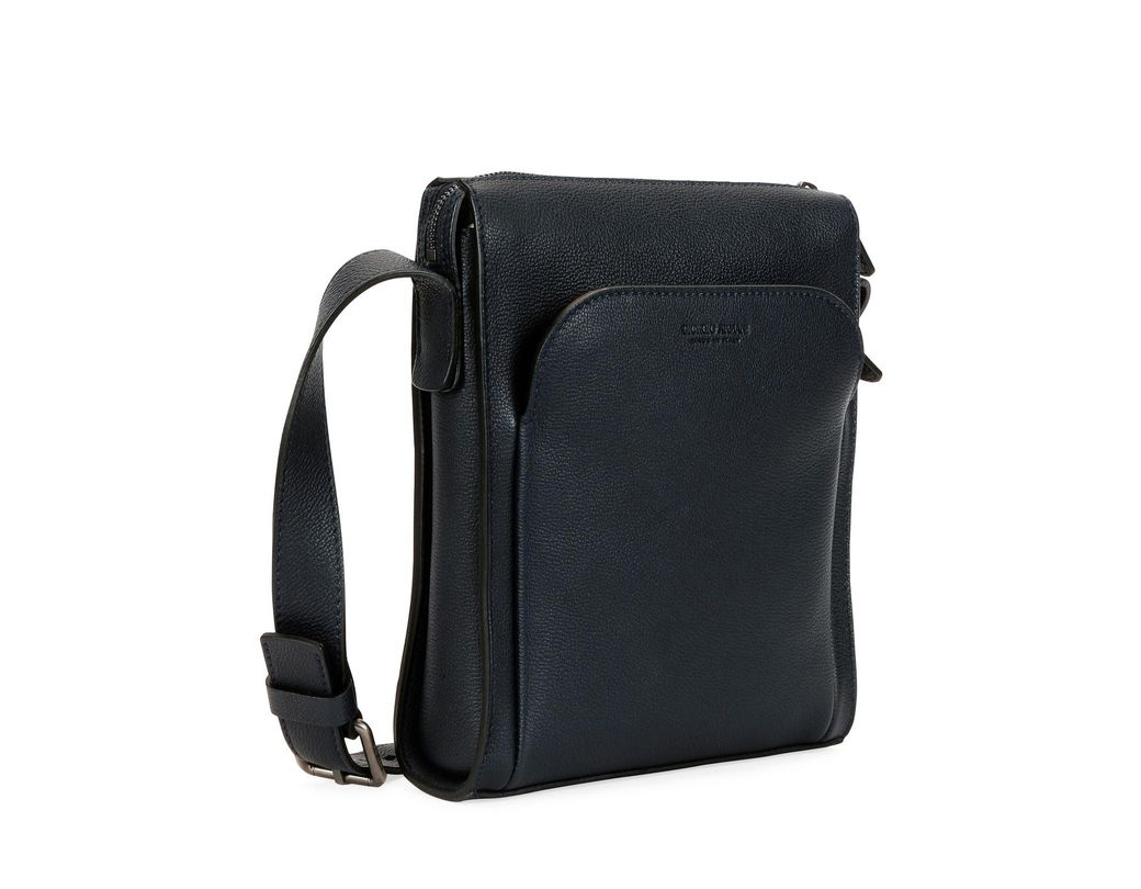 80e2047c9 Giorgio Armani Men's Tumbled Calf Leather Crossbody Bag in Black for Men -  Lyst