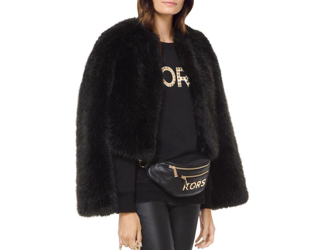 1a50f7a0efa Lyst - MICHAEL Michael Kors Cropped Faux-fur Coat in Black