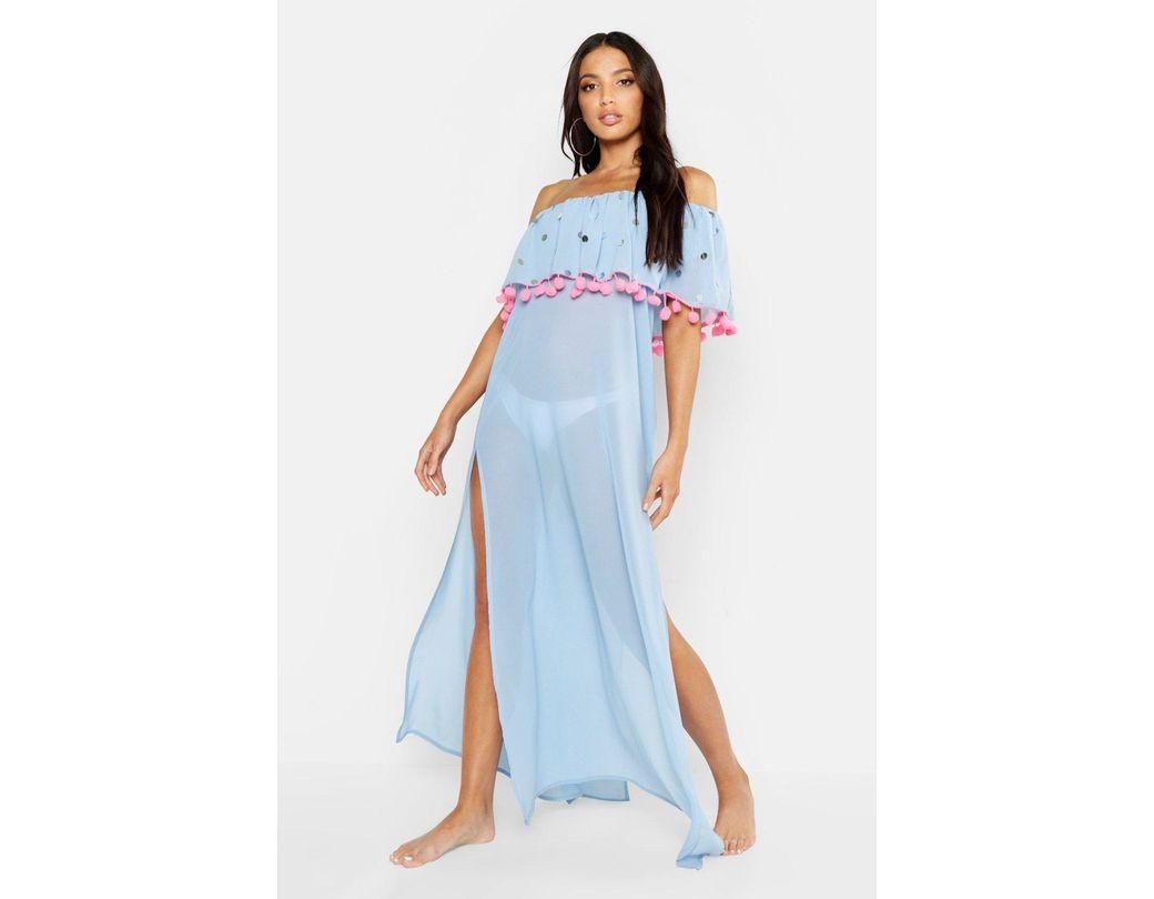 f0f153bf1e Lyst - Boohoo Sequin & Pom Pom Bardot Maxi Beach Dress in Blue
