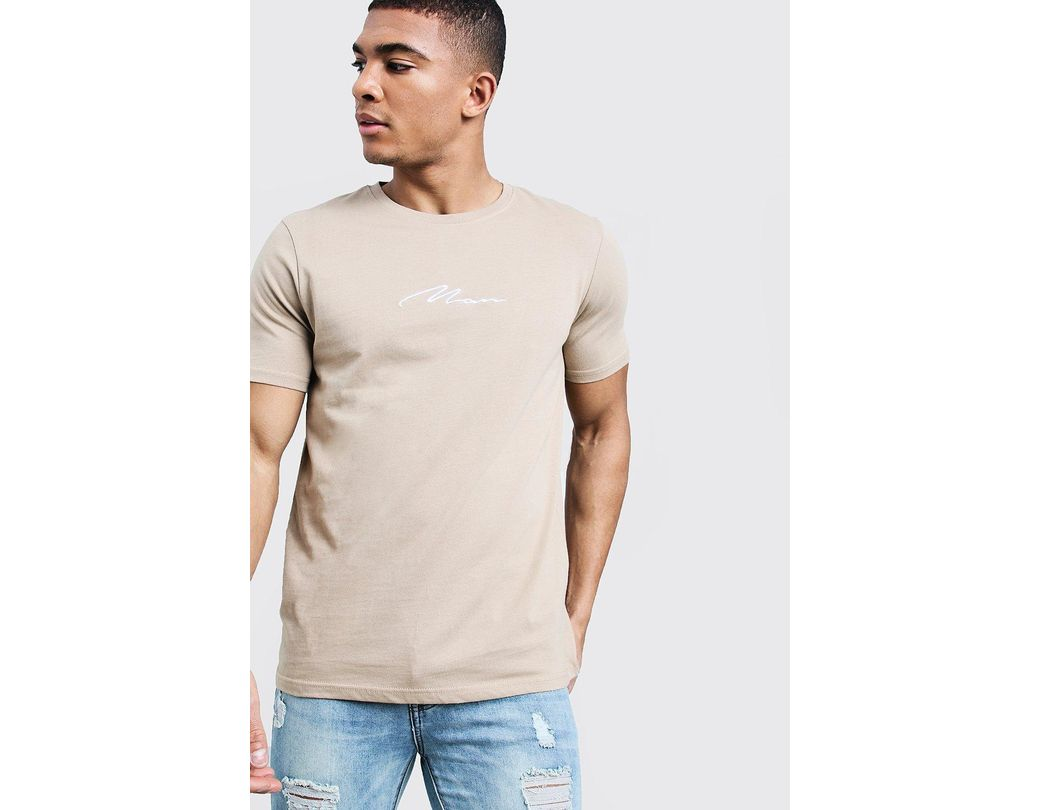 530887b8 Lyst - BoohooMAN Man Signature Embroidered T-shirt in Natural for Men