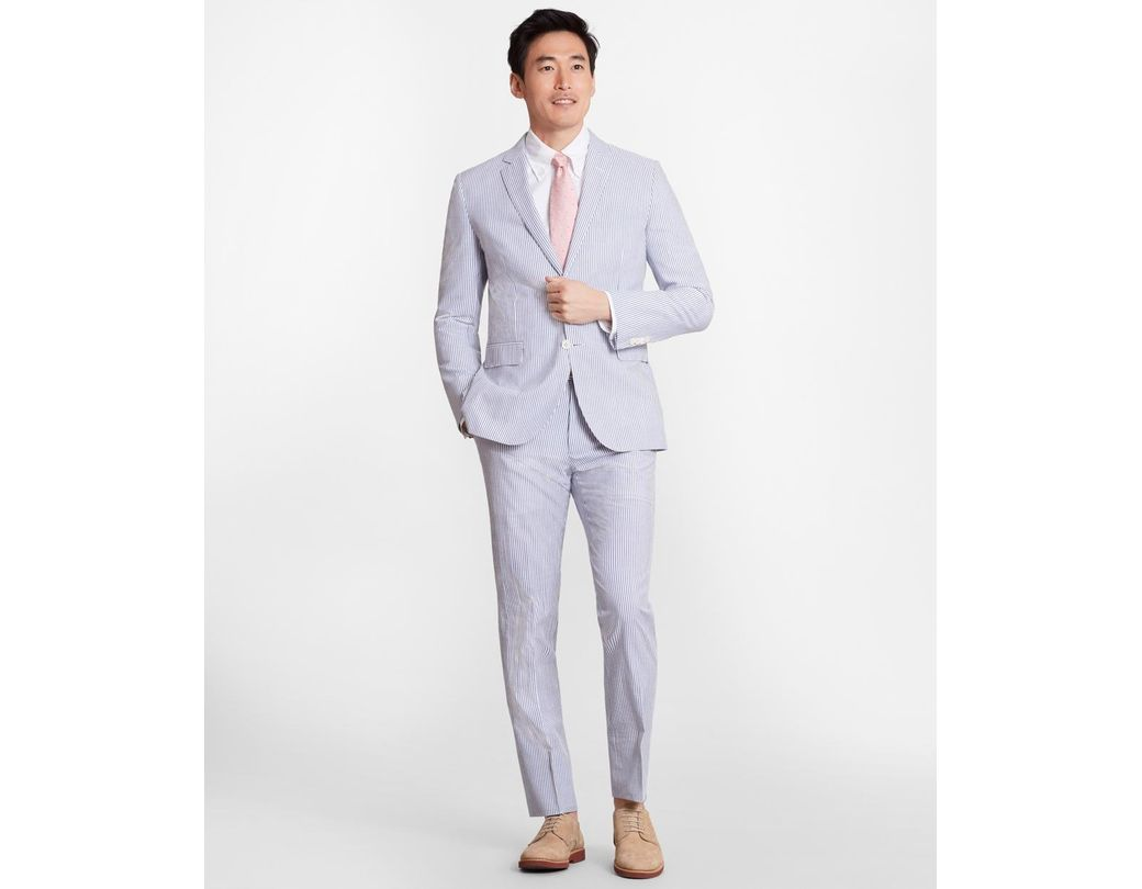 40e45368b48 Lyst - Brooks Brothers Milano Fit Stripe Seersucker Suit in Blue for Men