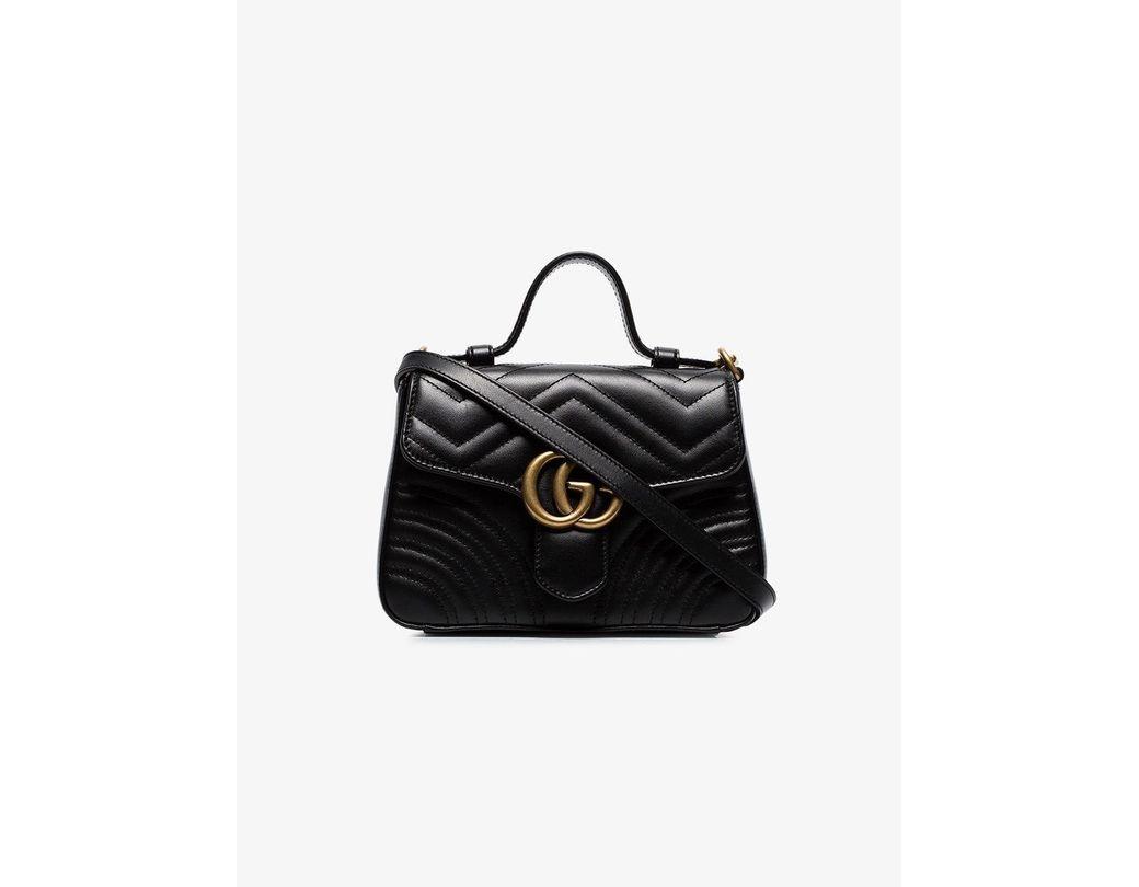 6299c633db6df1 Lyst - Gucci GG Marmont Mini Top Handle Bag in Black