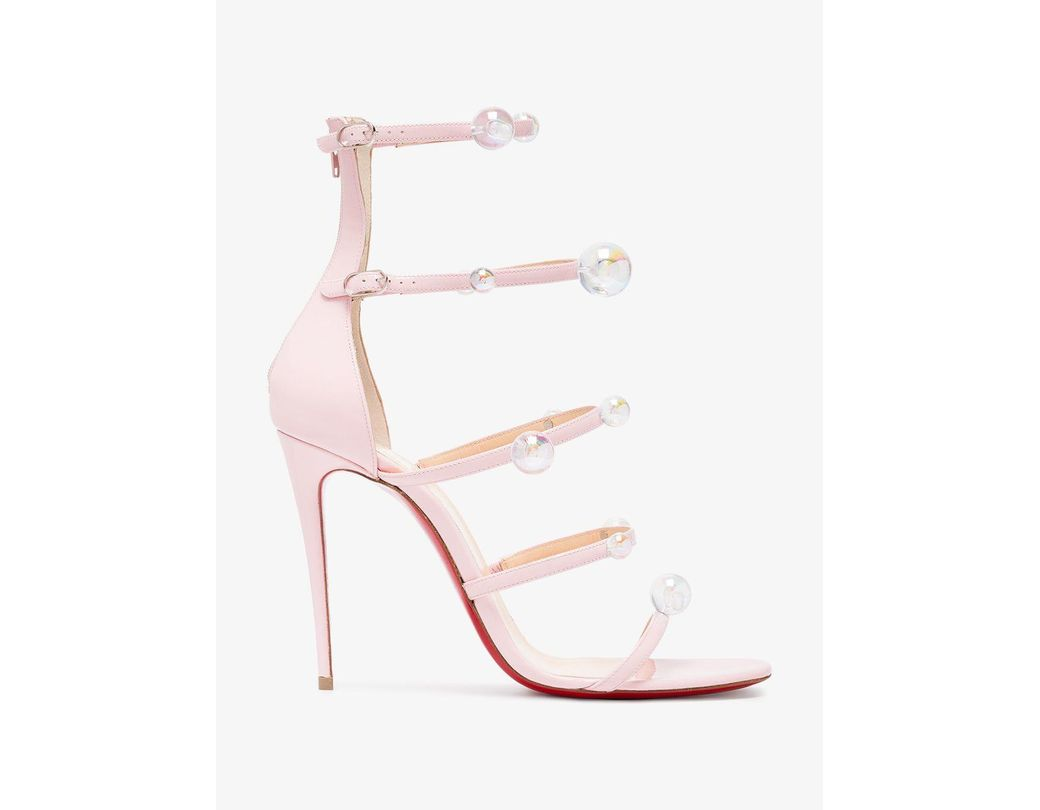 9e9a54aa8c24 Lyst - Christian Louboutin Pink Atonana 100 Leather Sandals in Pink ...