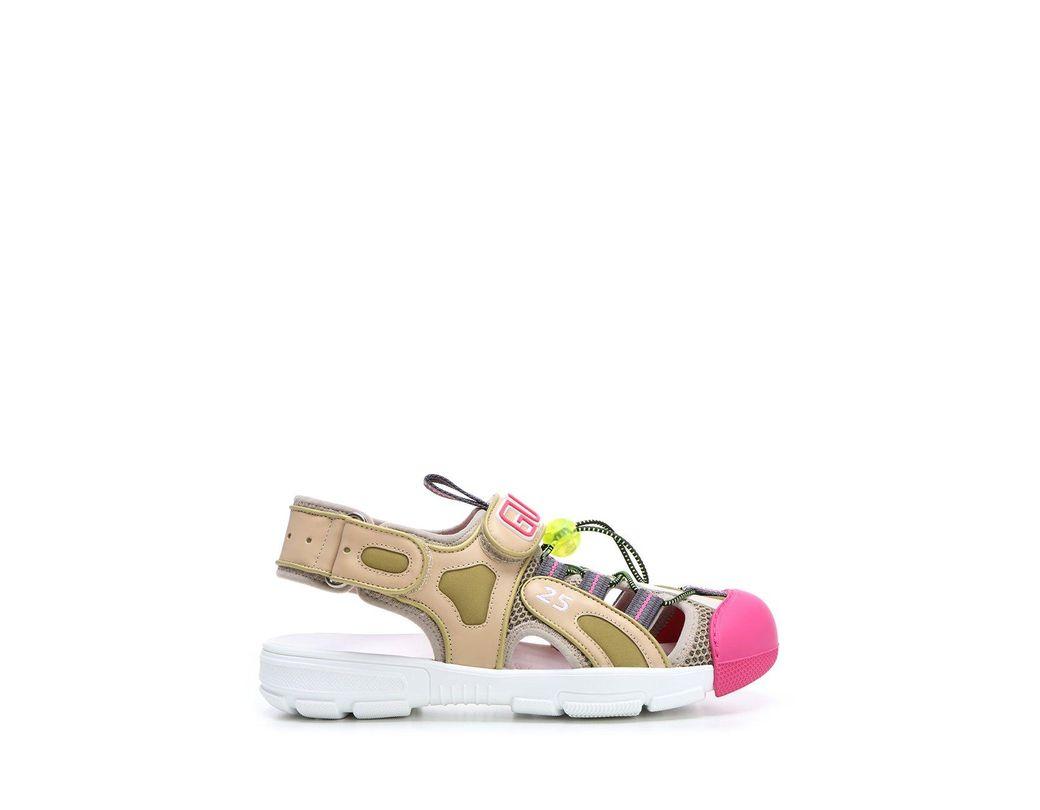 9ff4c002291 Lyst - Gucci Logo Strap Chunky Sandals