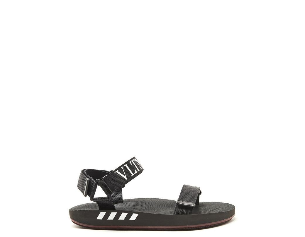 fd1bf4f2d2a0 Lyst - Valentino Vltn Logo Trim Rubber Sandals in Black for Men ...