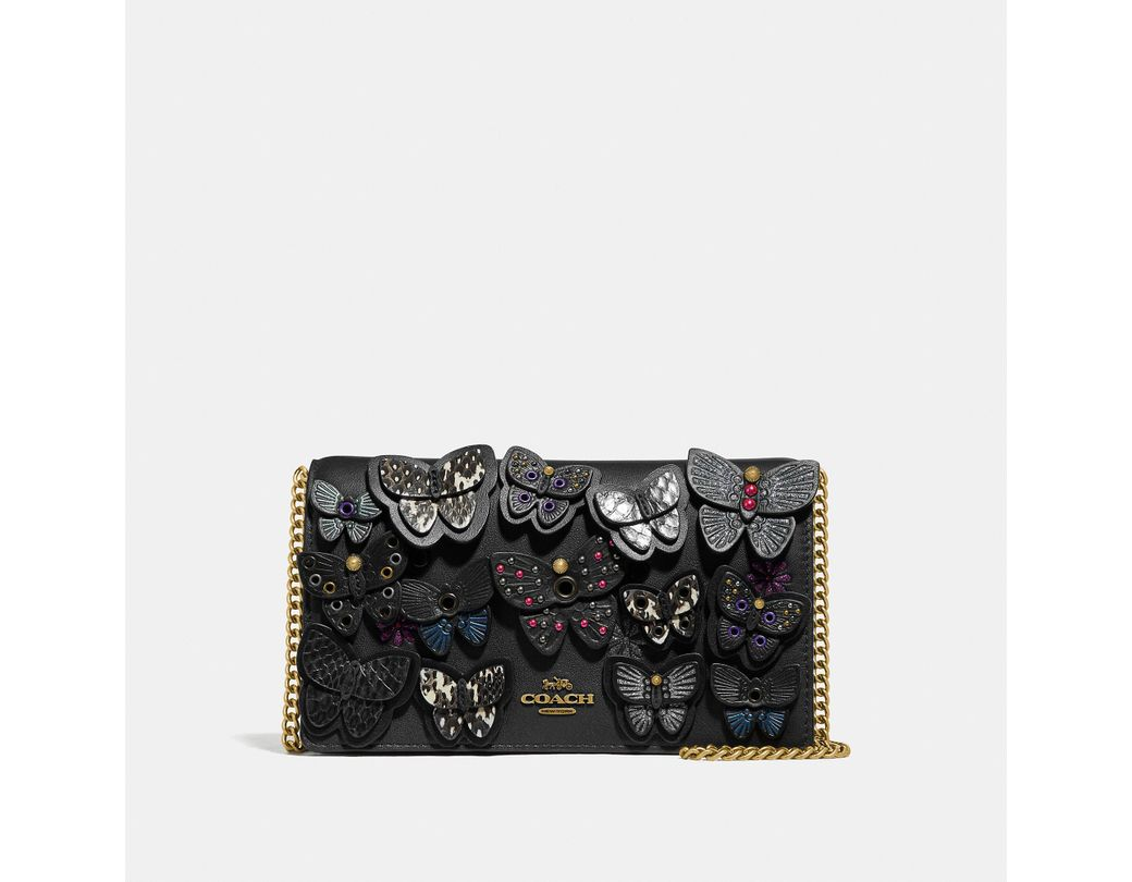 6bc4c1d90c COACH Callie Foldover Chain Clutch With Butterfly Applique in Black ...