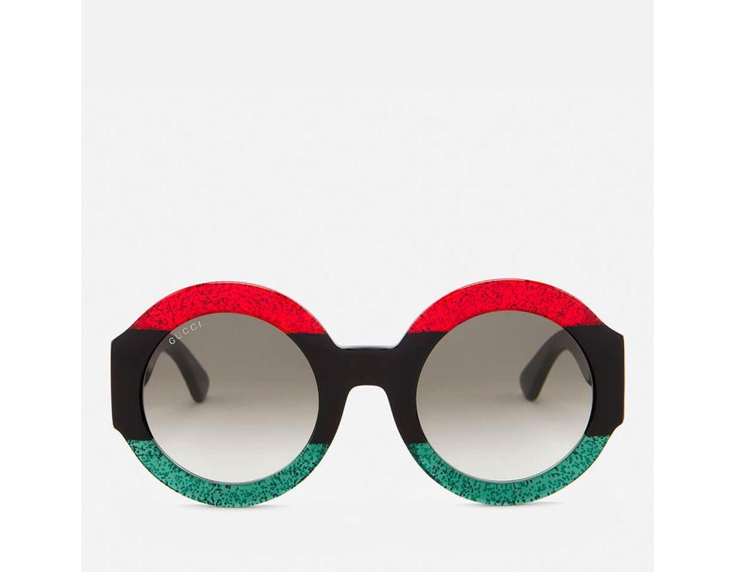5b0f63c51c3 Lyst - Gucci Round Frame Sunglasses in Black - Save 44%