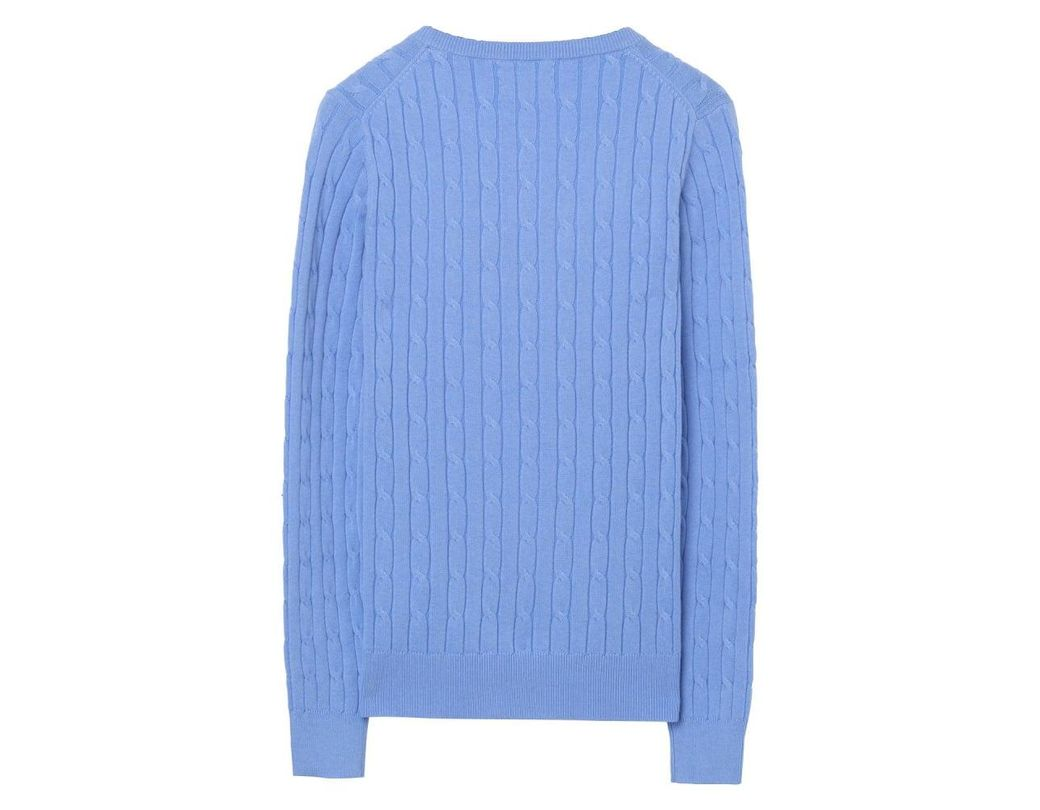 1a71468aa29725 GANT Stretch Cotton Cable V-neck Ladies Jumper in Blue - Save 32% - Lyst