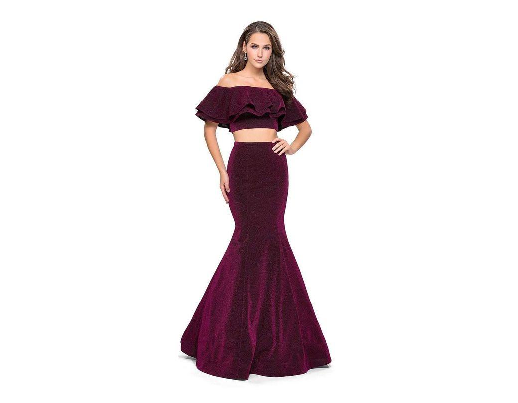 c61bb60c543 La Femme 26324 Two Piece Ruffled Off-shoulder Jersey Mermaid Dress in  Purple - Lyst