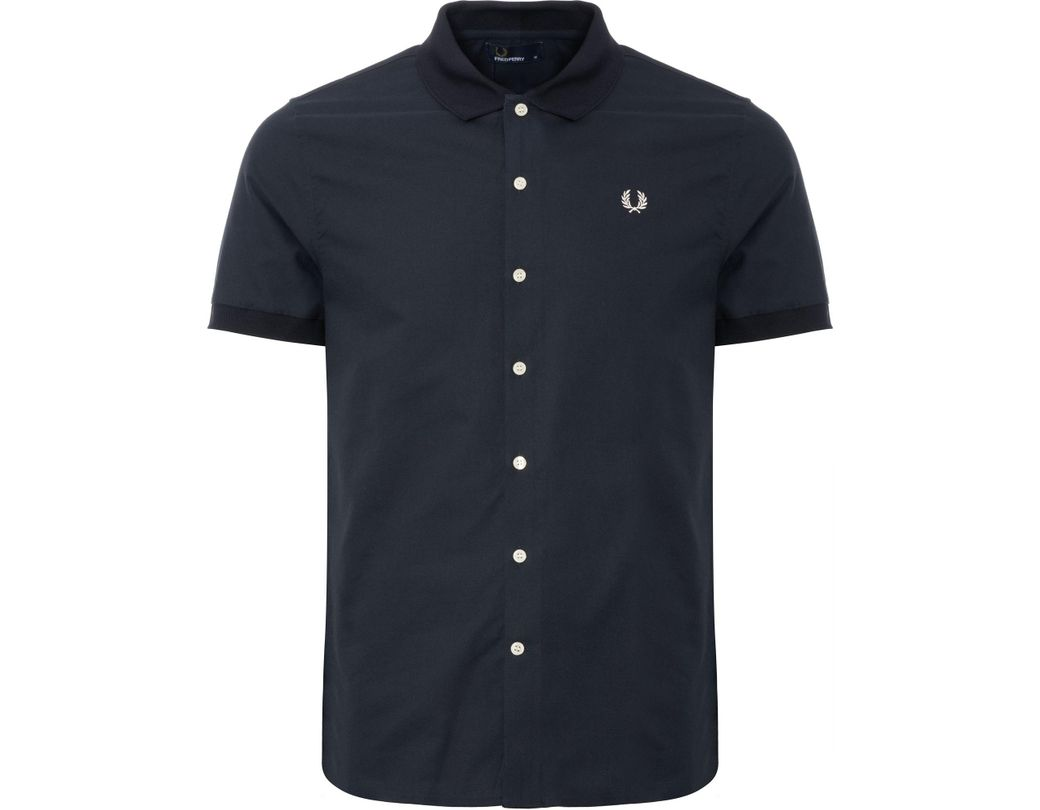 05cb4fe37 Lyst - Fred Perry Authentic Knitted Collar Oxford Shirt in Blue for ...
