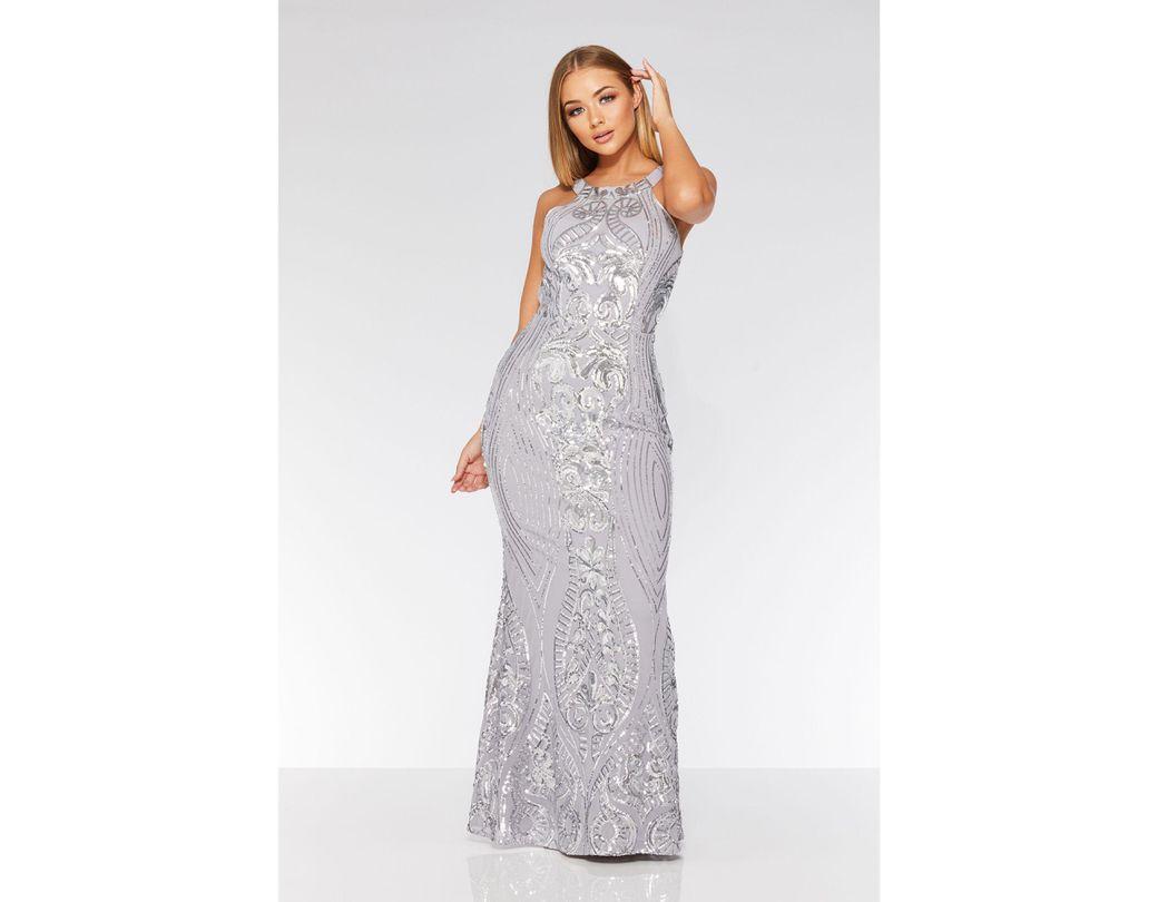 436d5b416b5 Quiz Grey And Silver Fishtail Maxi Dress in Gray - Lyst
