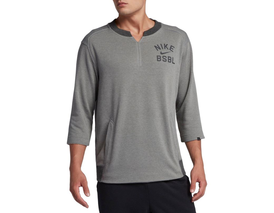 b8ee60f67da53 Long-Touch to Zoom. Long-Touch to Zoom. 1  2  3  4  5  6  7  8. Nike - Gray  3 4 Fleece Crew Flux Baseball Shirt for Men - Lyst ...