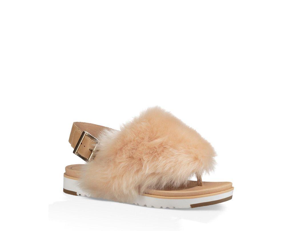9f03855453da Lyst - UGG Holly Sheepskin Fur Sandals
