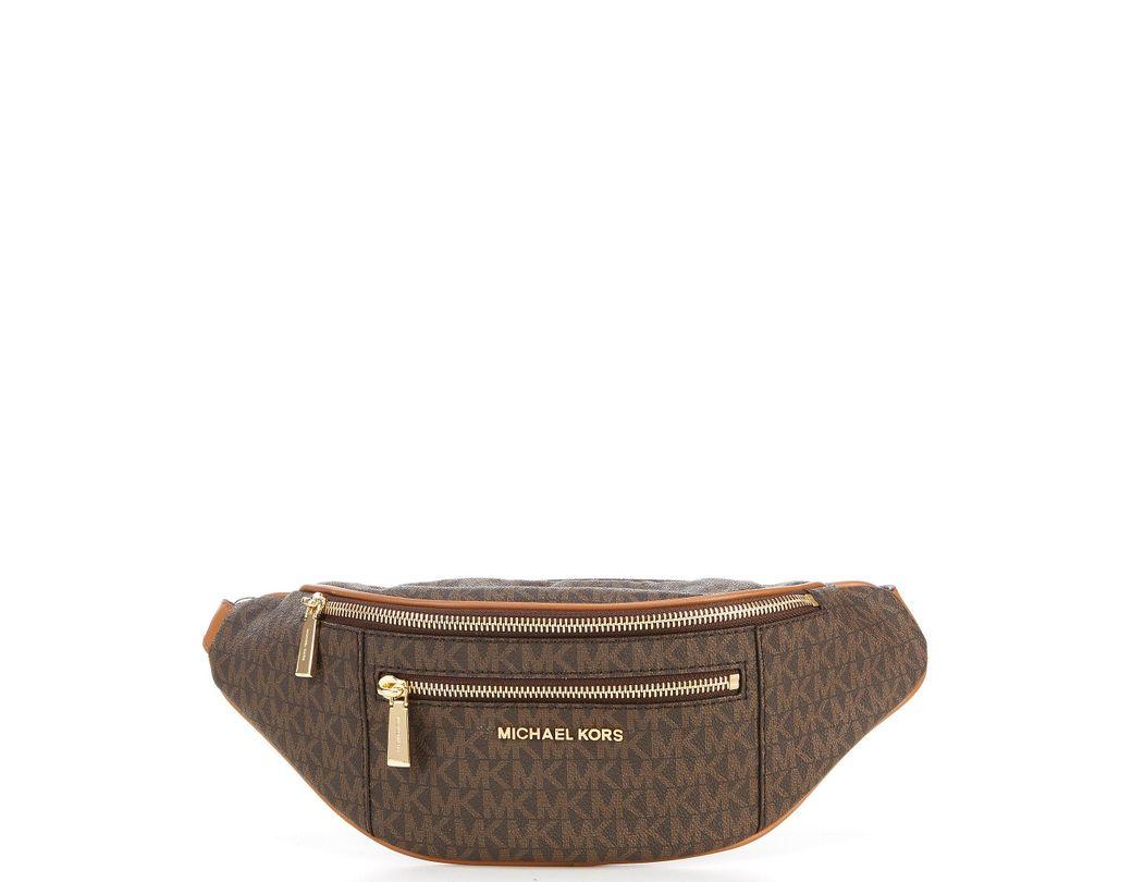 2bd90544bbc1 Lyst - MICHAEL Michael Kors Signature Mott Medium Belt Bag in Brown