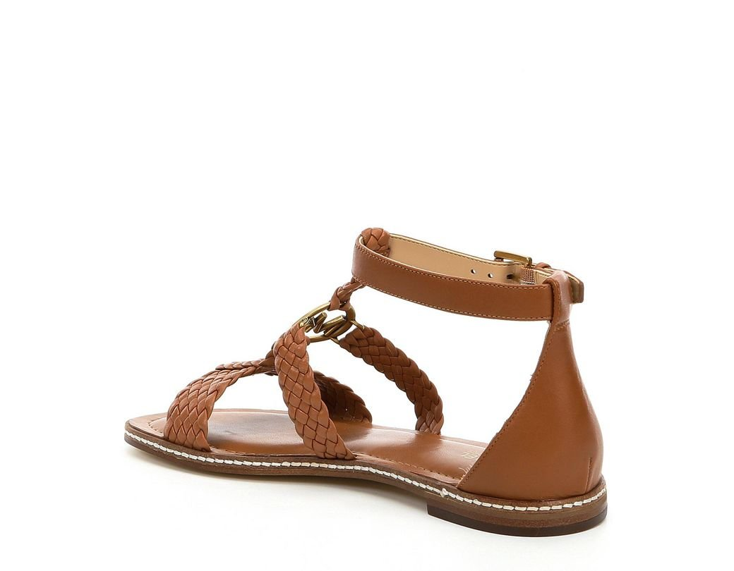 97fcedb3c MICHAEL Michael Kors Piper Woven Leather Flat Sandals in Brown - Lyst