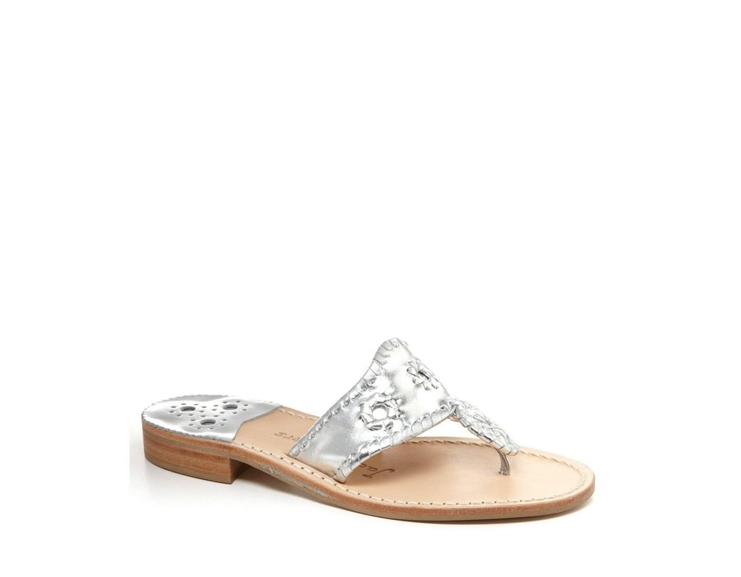 96cc277a55b6 Lyst - Jack Rogers Hamptons Metallic Leather Whipstitched Sandals in ...