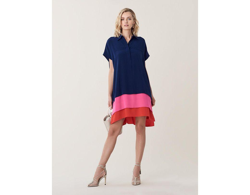 c9046c22b23a Diane von Furstenberg Hatsu New Silk Crepe De Chine Shirt Dress in Blue -  Lyst