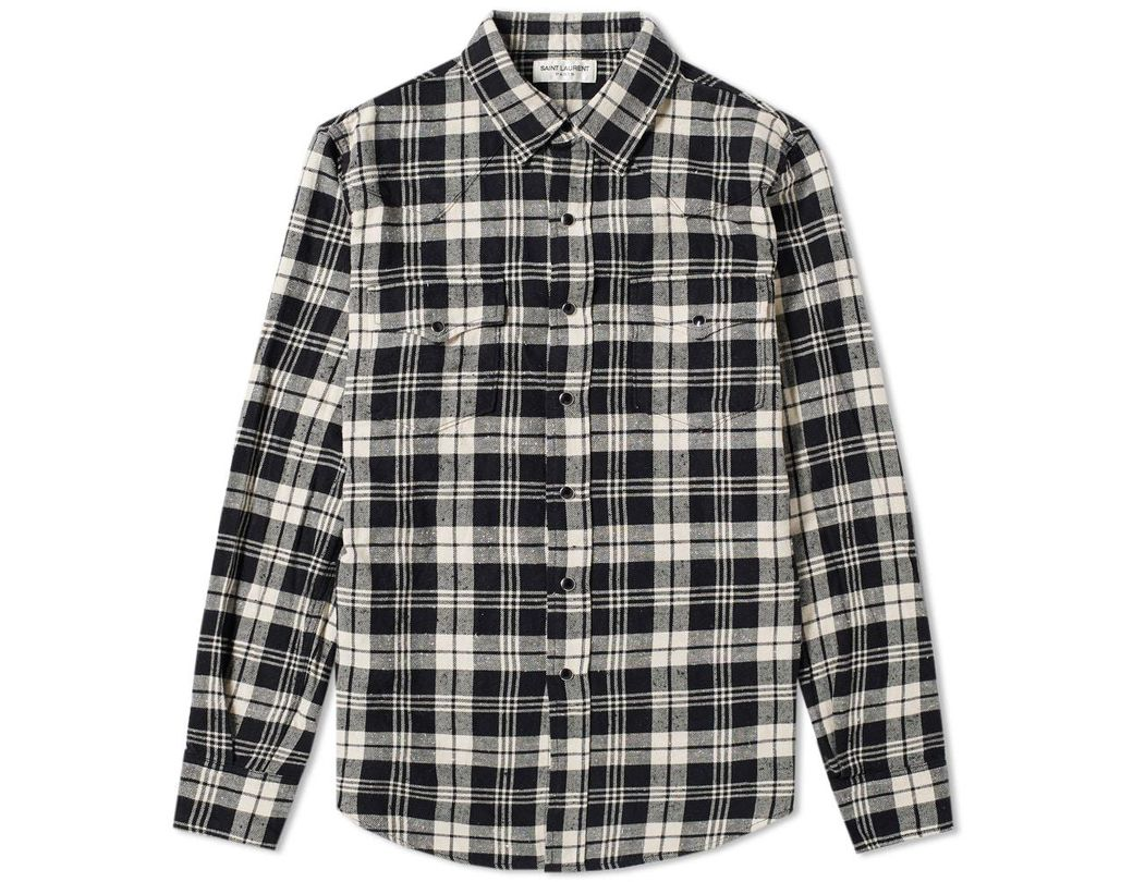 8d8882f6 Saint Laurent Classic Western Check Shirt in Black for Men - Lyst