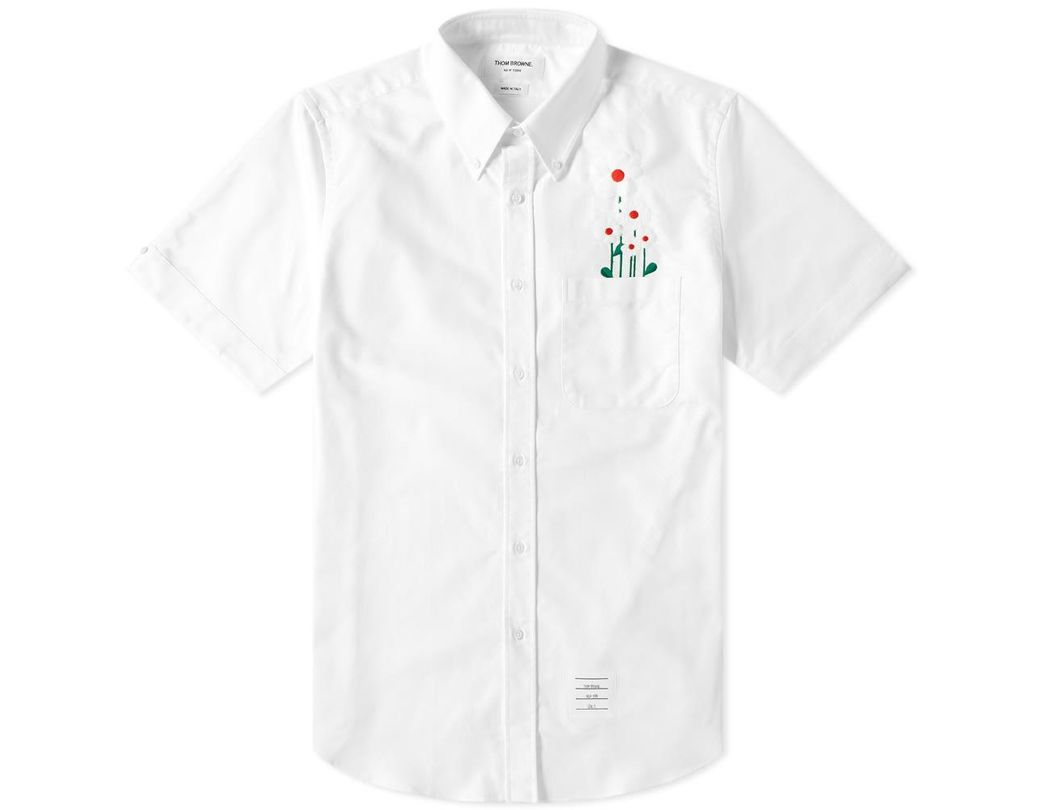 701d34ff0c4 Thom Browne Short Sleeve Daisy Embroidered Button Down Shirt in White for  Men - Lyst