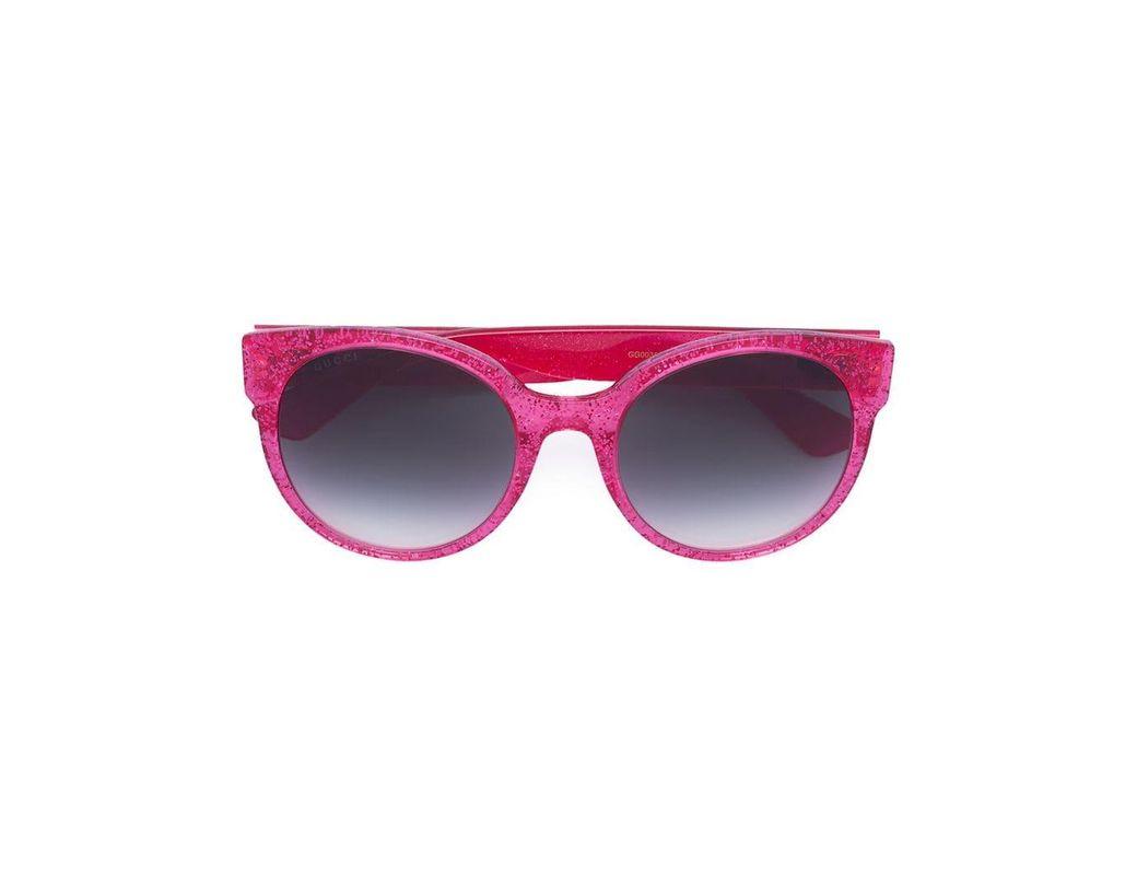 a1114725b8c8 Lyst - Gucci Round-frame Glitter Sunglasses in Pink - Save 4%