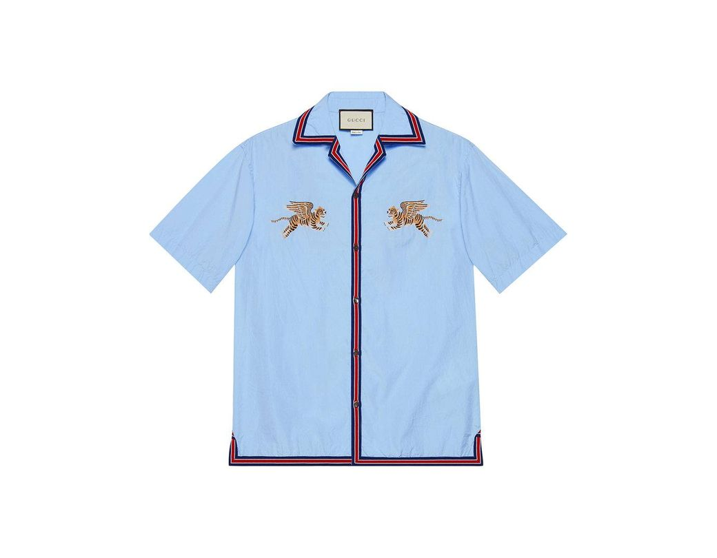 6b5fd410b8a Gucci Tiger Fil Coupé Bowling Shirt in Blue for Men - Save 53% - Lyst
