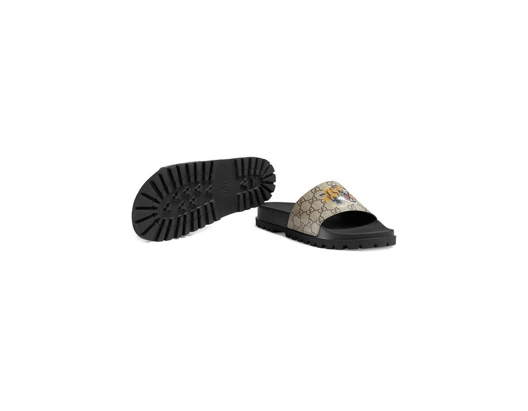 562b5e9c1b9 Lyst - Gucci GG Supreme Tiger Slide Sandal in Brown for Men - Save 18%