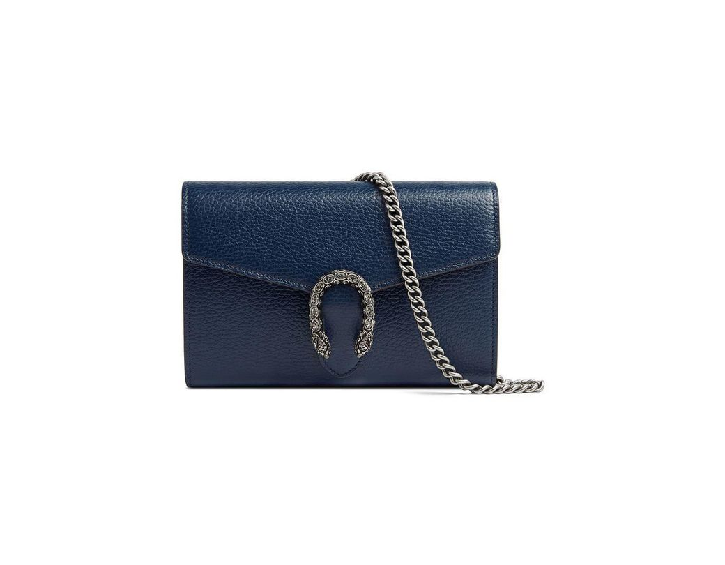 1f15c064ba14a9 Gucci Dionysus Leather Mini Chain Bag in Blue - Lyst