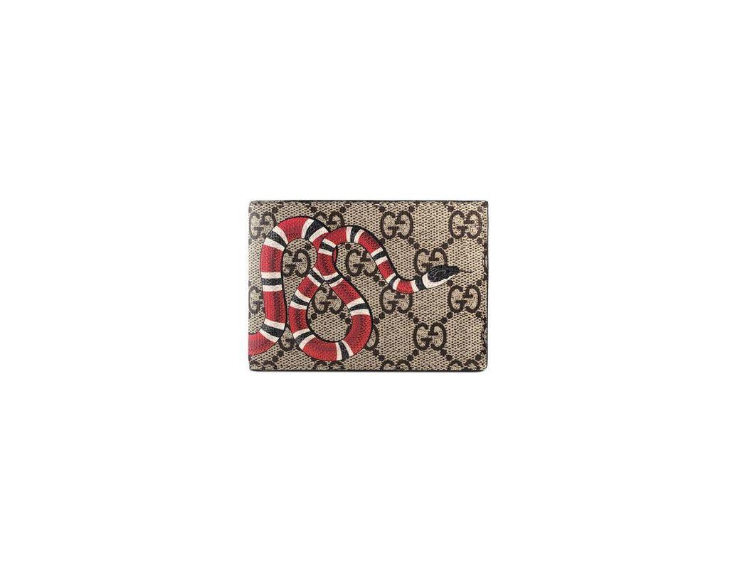 4689007241d Lyst - Gucci Gg Supreme Kingsnake Bi Fold Wallet for Men - Save 24%