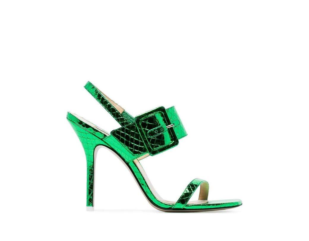 7cd10a81269d Lyst - Attico Embossed Metallic Leather Sandals in Green - Save 21%