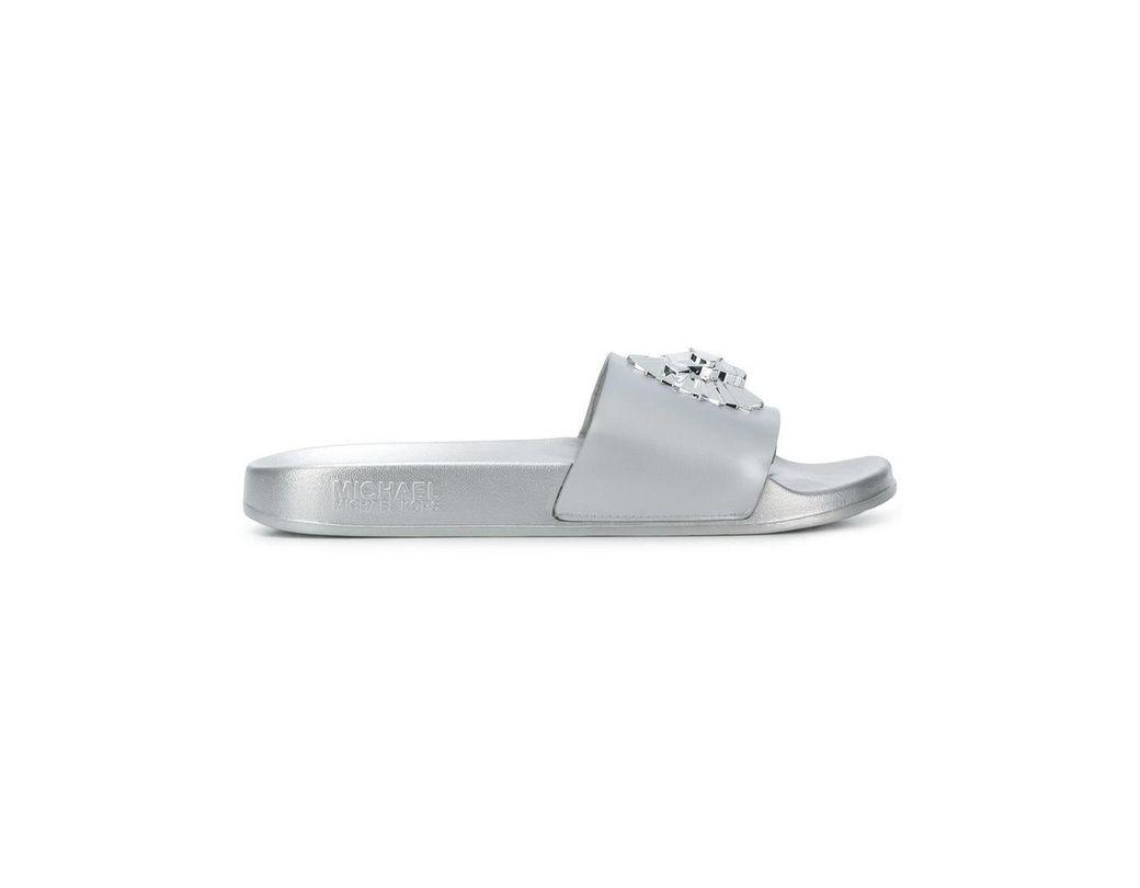 41d4747c9175 MICHAEL Michael Kors Rory Metallic Slides in Metallic - Save 38% - Lyst