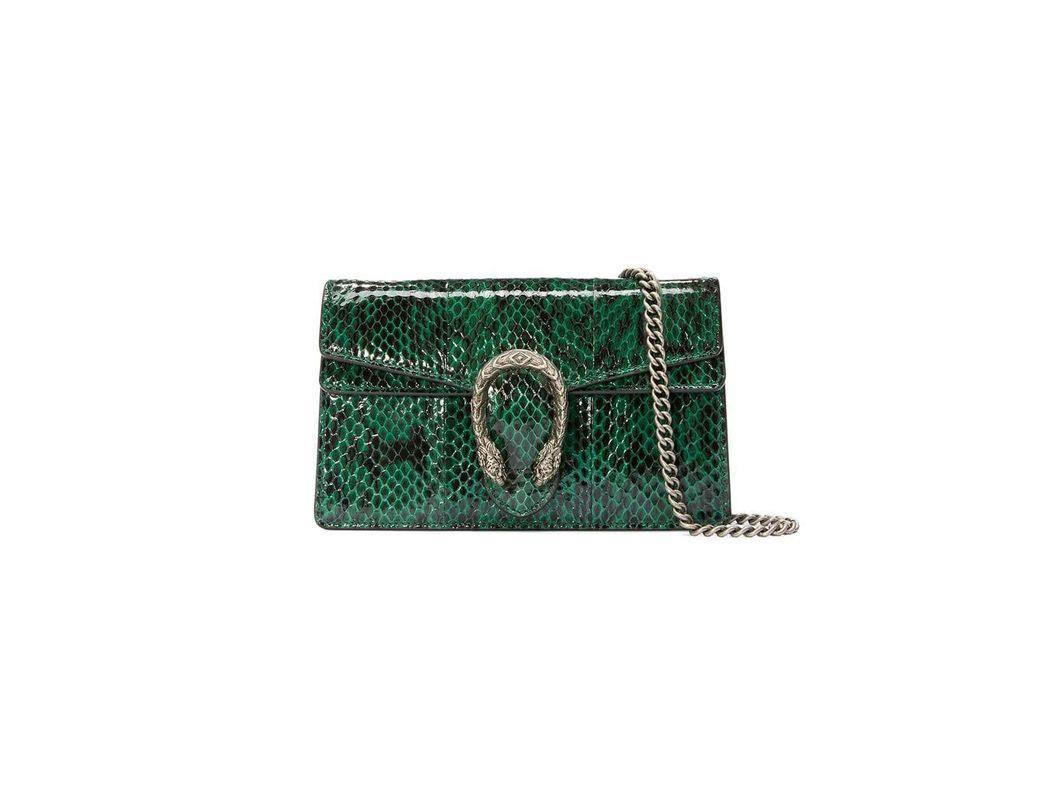 5857e2838fb Lyst - Gucci Dionysus Super Mini Snakeskin Bag in Green