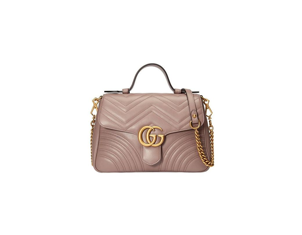 f75a5d49348 Lyst - Gucci GG Marmont Small Top Handle Bag in Pink