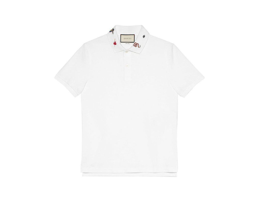 fd67434a370 Gucci Embroidered Cotton Polo in White for Men - Save 3% - Lyst