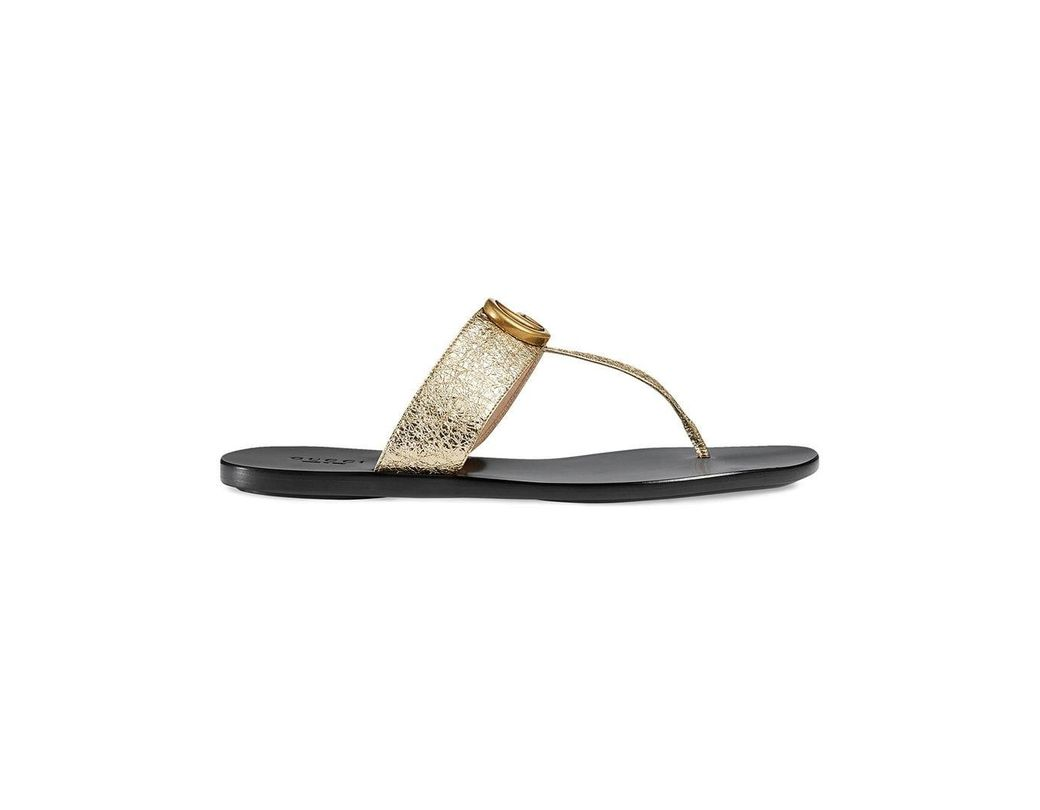 26a303d13d51 Gucci Gold Double G Leather Thong Sandal. in Metallic - Save 5% - Lyst