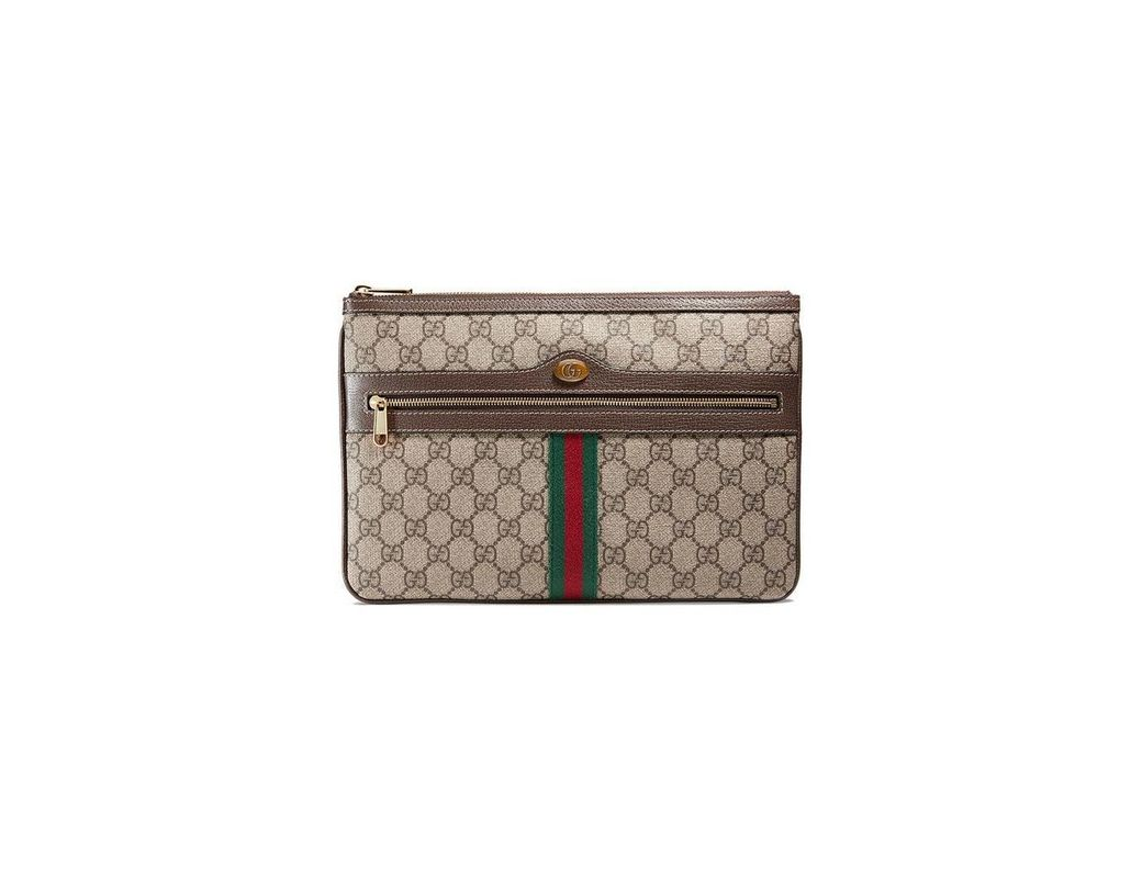 c167b650190 Lyst - Gucci Ophidia GG Supreme Pouch in Brown - Save 9%