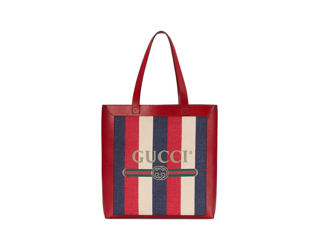 dc028b1b9ec Lyst - Gucci Leather-trimmed Logo-print Striped Canvas Tote Bag in ...