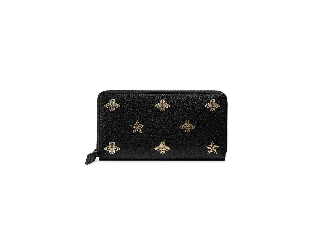 6f160e4169b Lyst - Gucci Bee Star Leather Zip Around Wallet in Black for Men