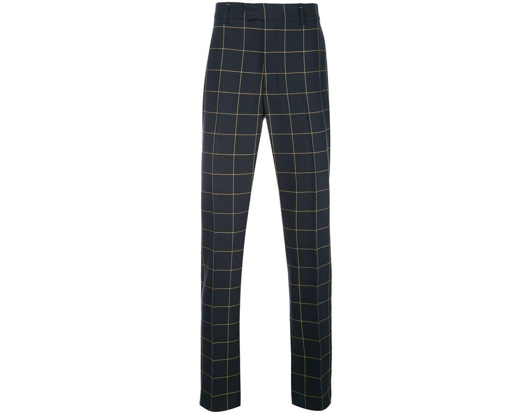 7cf0b7a695 CALVIN KLEIN 205W39NYC Checked Tailored Trousers in Blue for Men - Lyst