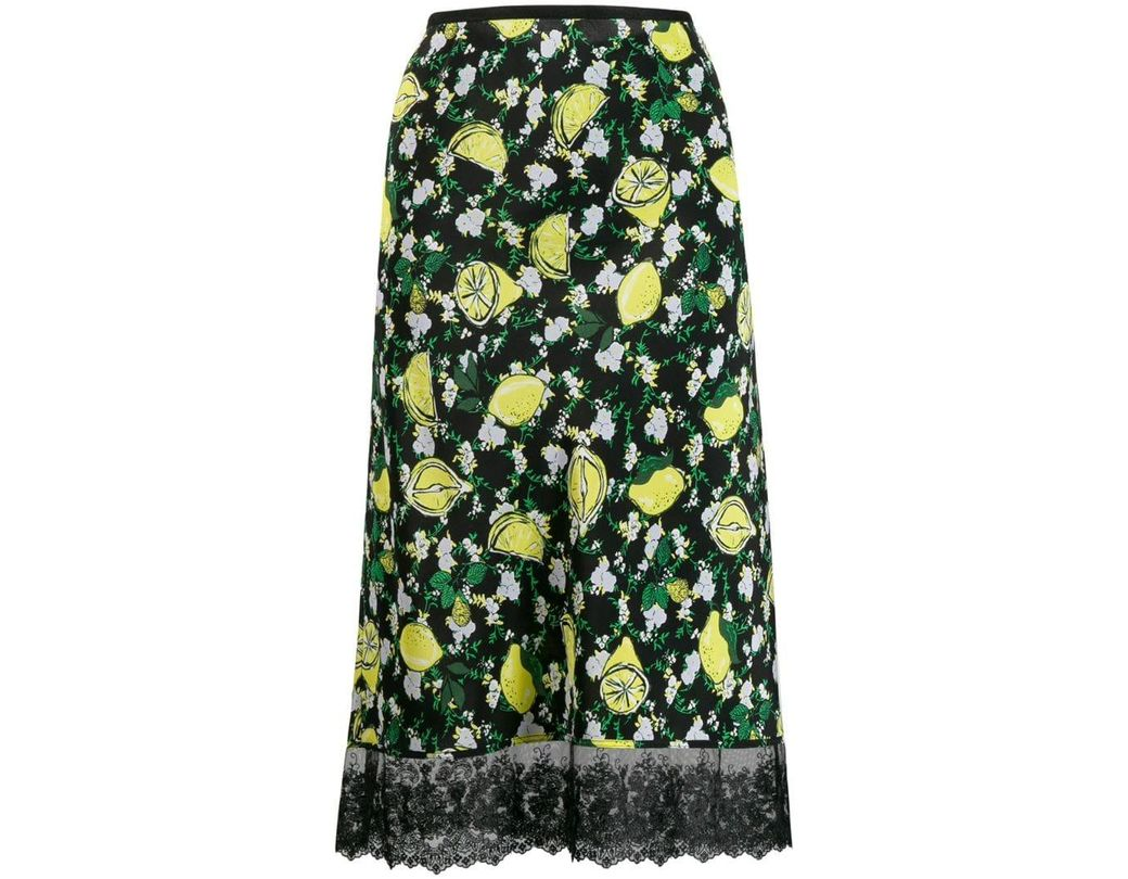 f2883a66 Diane von Furstenberg Lemon Print Skirt in Black - Lyst