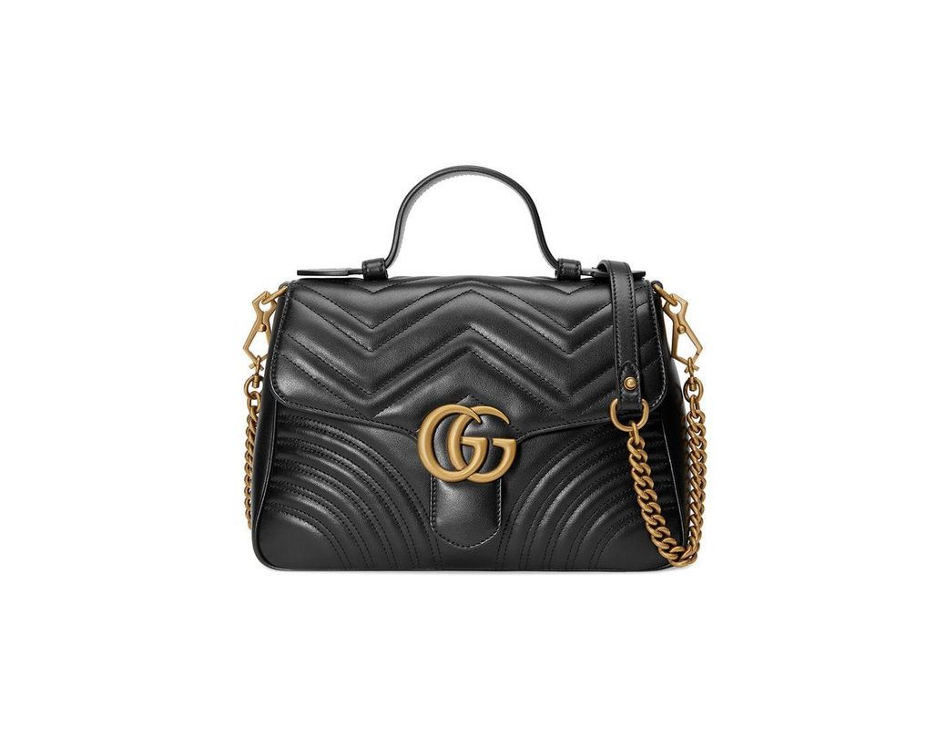 bcd3e3f7f2f Lyst - Gucci GG Marmont Medium Top Handle Bag in Black - Save 26%