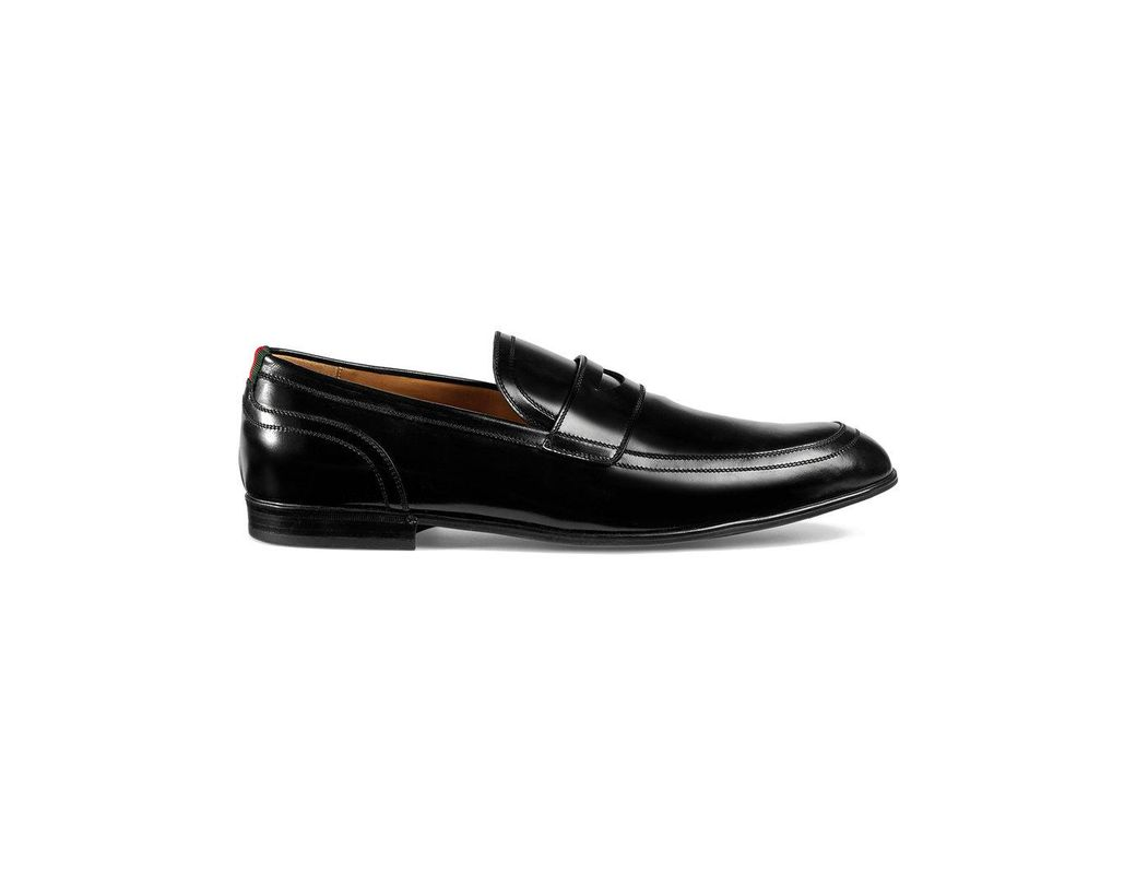 71dbd762e Gucci Leather Loafer With Web in Black for Men - Lyst