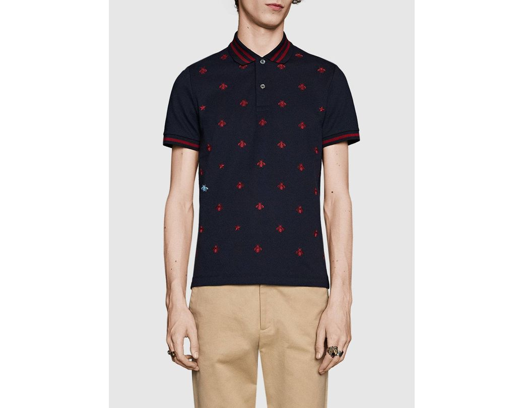 d4cfac744 Gucci Cotton Polo With Bees And Stars in Blue for Men - Save 1% - Lyst