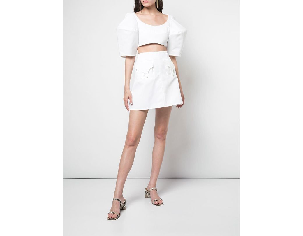 762d5005ddf Ellery Structured Sleeve Cropped Blouse in White - Lyst
