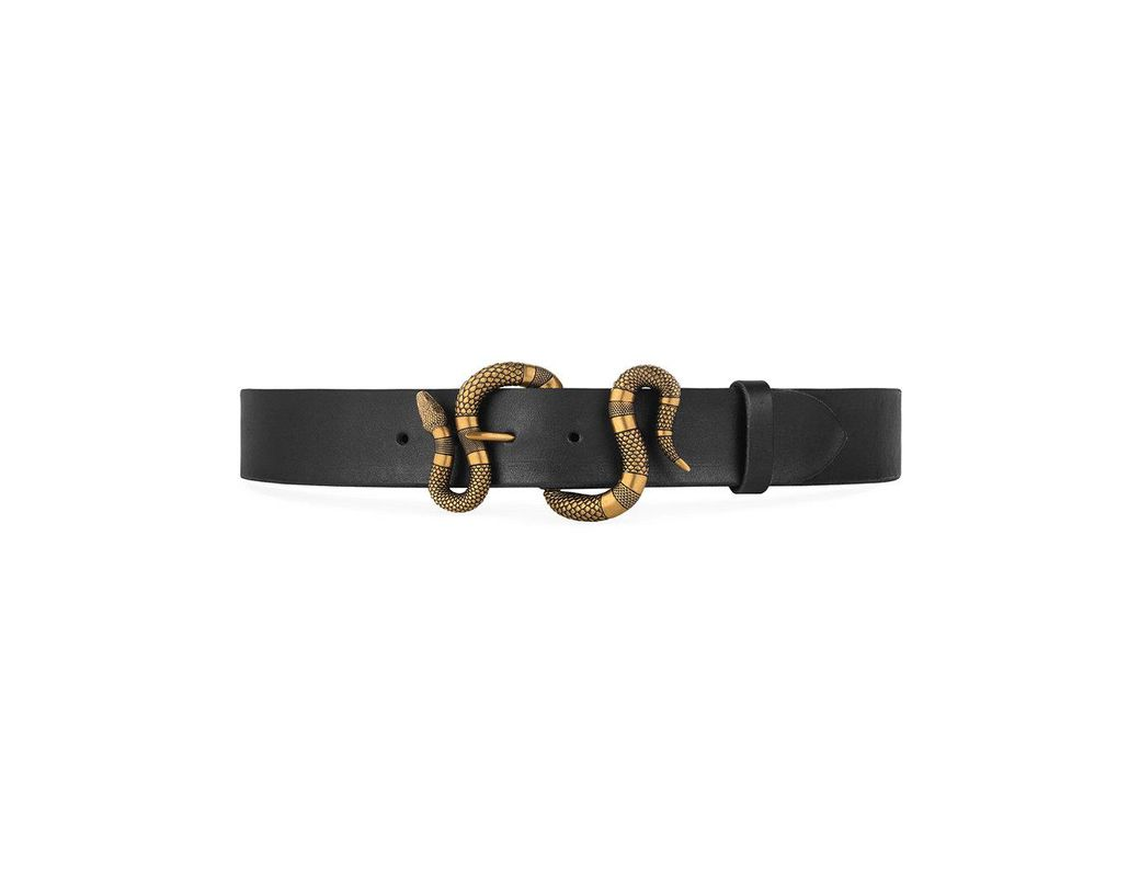 43b60eaa731 Lyst - Gucci Leather Belt With Snake Buckle in Black for Men - Save 8%