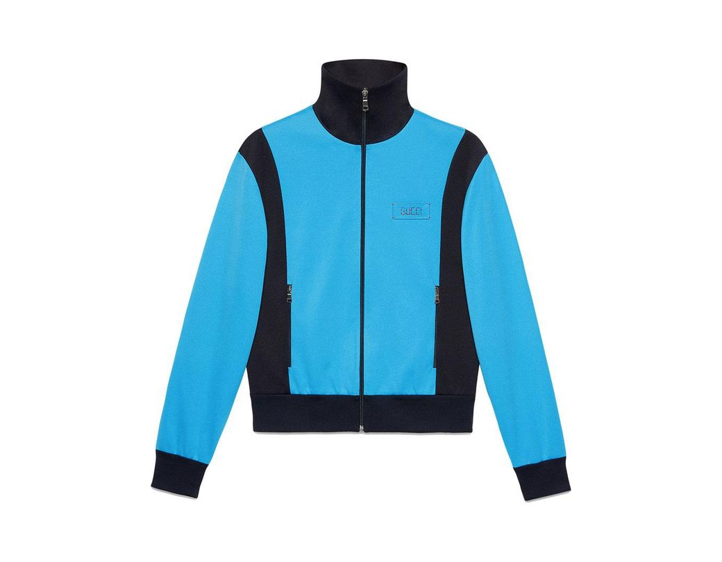 3359edefe38 Gucci Tiger Patch Technical Jersey Jacket in Blue for Men - Save 3 ...